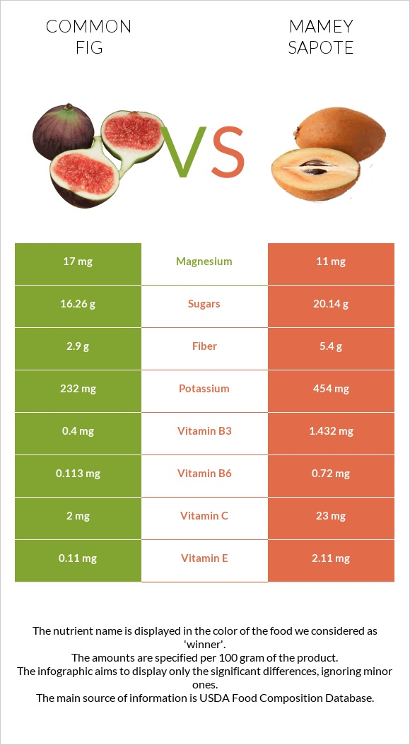 Common fig vs Mamey Sapote infographic