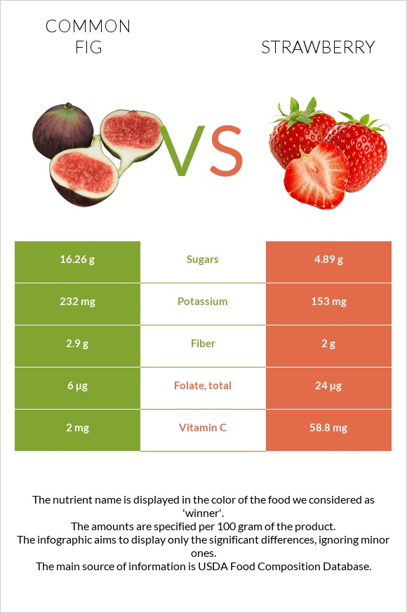 Common fig vs Strawberry infographic