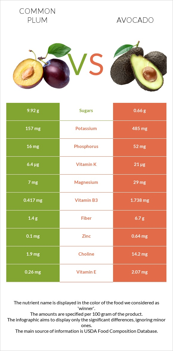 Common plum vs Avocado infographic