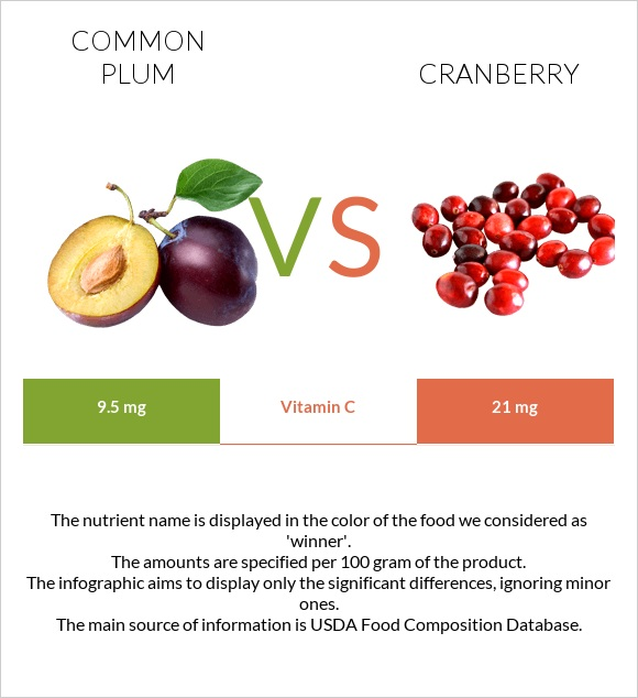 Common plum vs Cranberry infographic