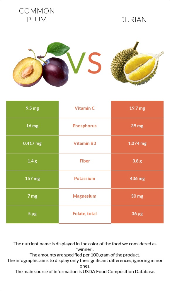 Common plum vs Durian infographic
