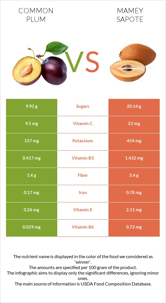 Common plum vs Mamey Sapote infographic