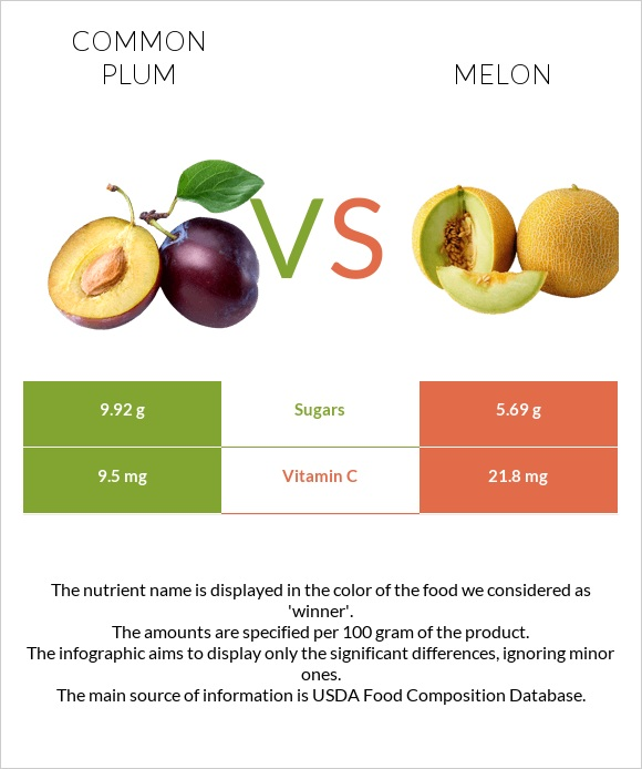 Common plum vs Melon infographic