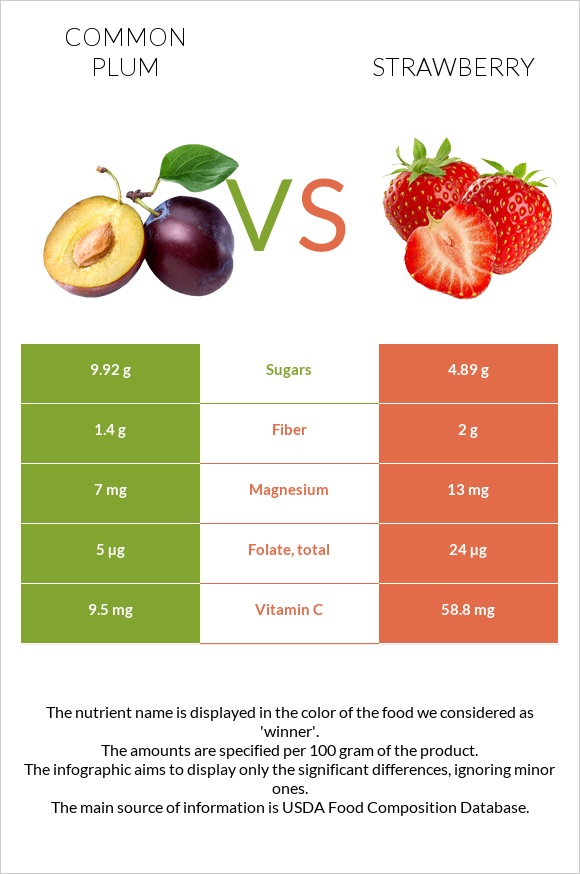 Common plum vs Strawberry infographic