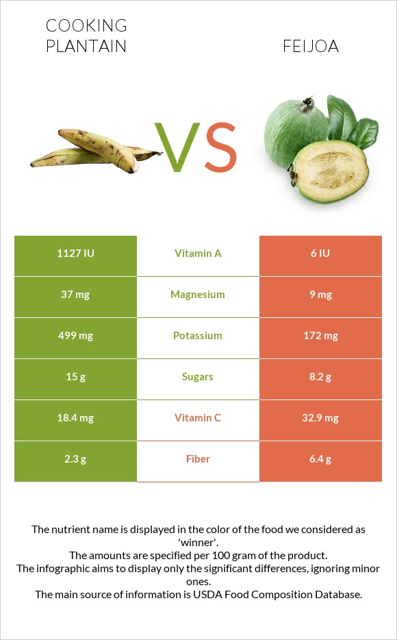 Cooking plantain vs Feijoa infographic