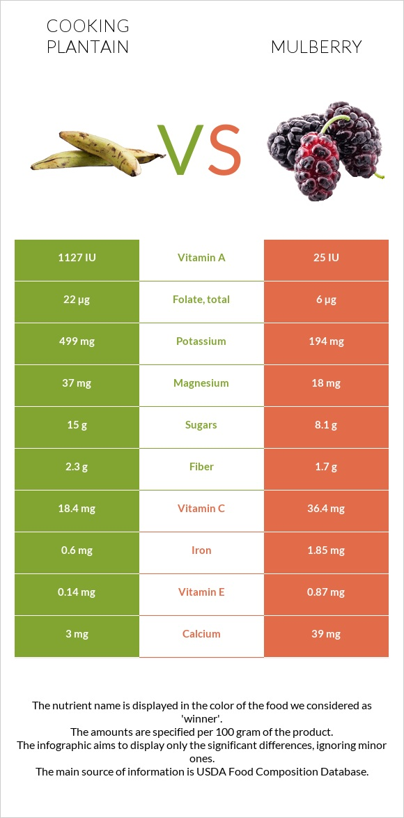 Cooking plantain vs Mulberry infographic