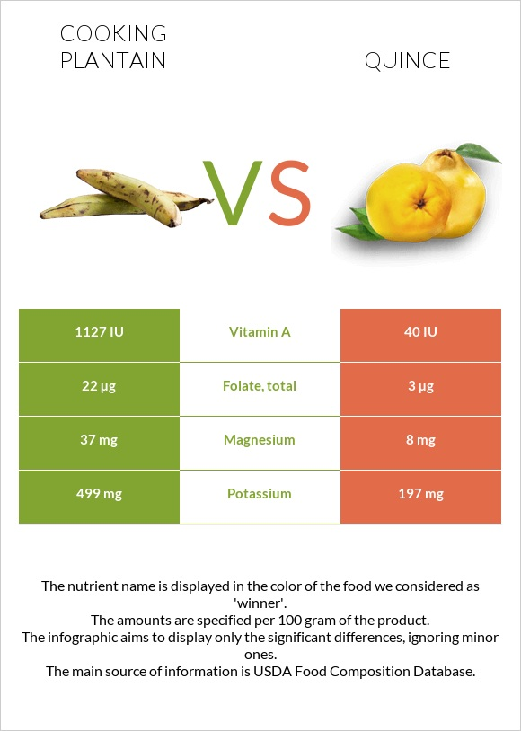 Cooking plantain vs Quince infographic