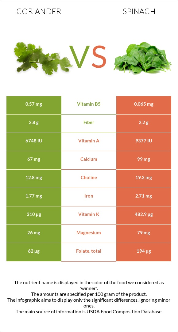 Coriander vs Spinach infographic
