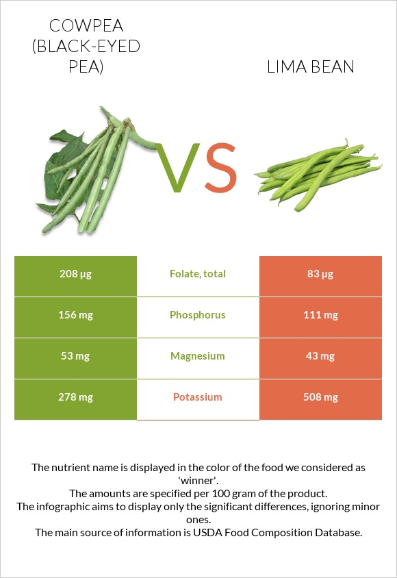 Cowpea vs Lima bean infographic