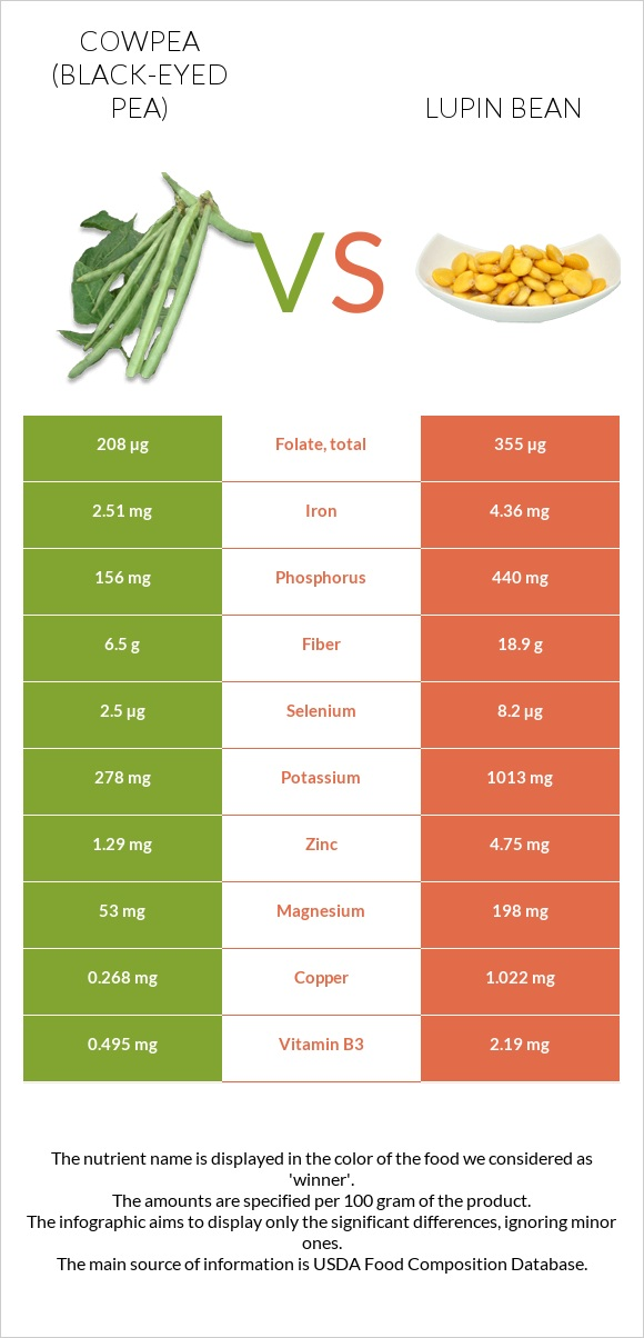 Cowpea vs Lupin Bean infographic