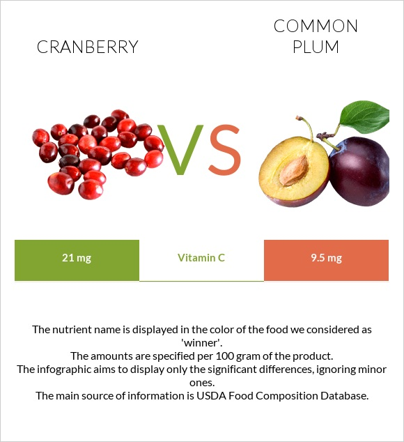 Cranberry vs Common plum infographic