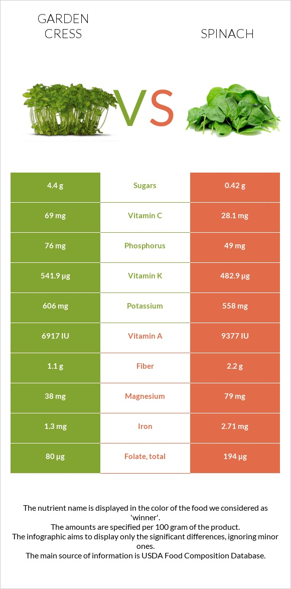 Garden cress vs Spinach infographic