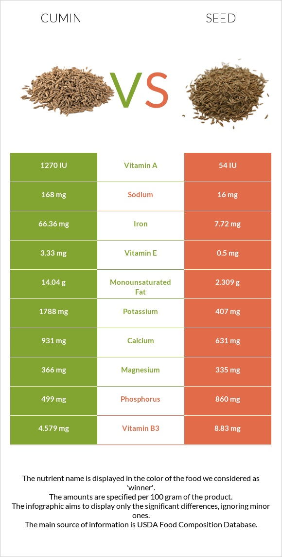 Cumin vs Seed infographic