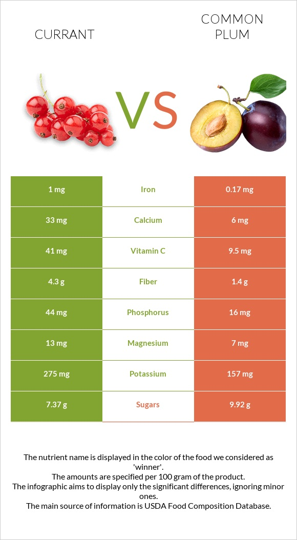 Currant vs Common plum infographic