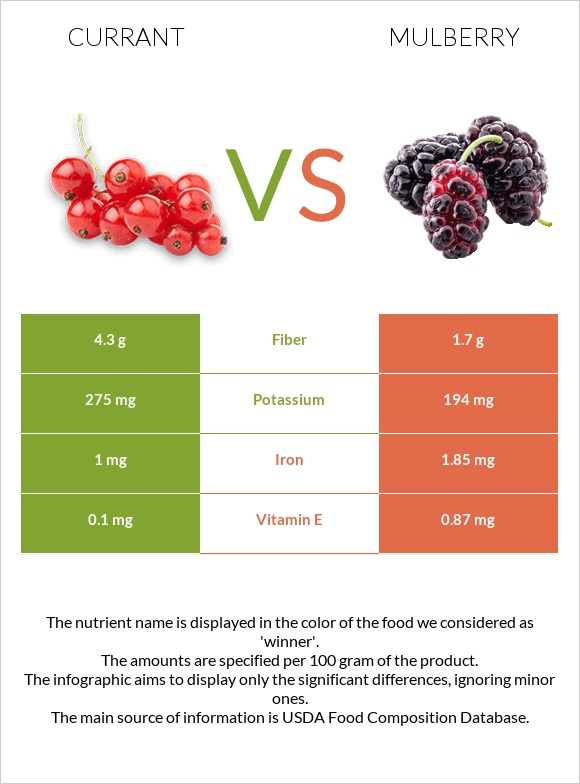 Currant vs Mulberry infographic