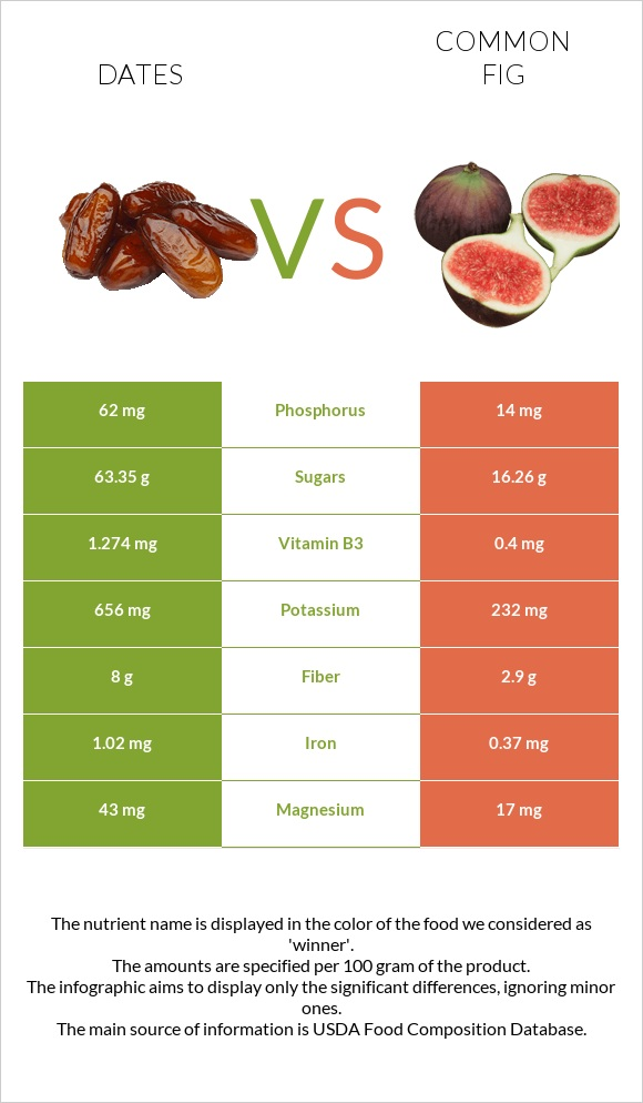 Date palm vs Common fig infographic