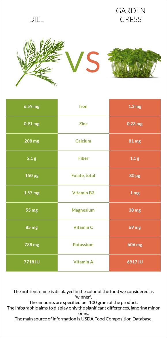 Dill vs Garden cress infographic