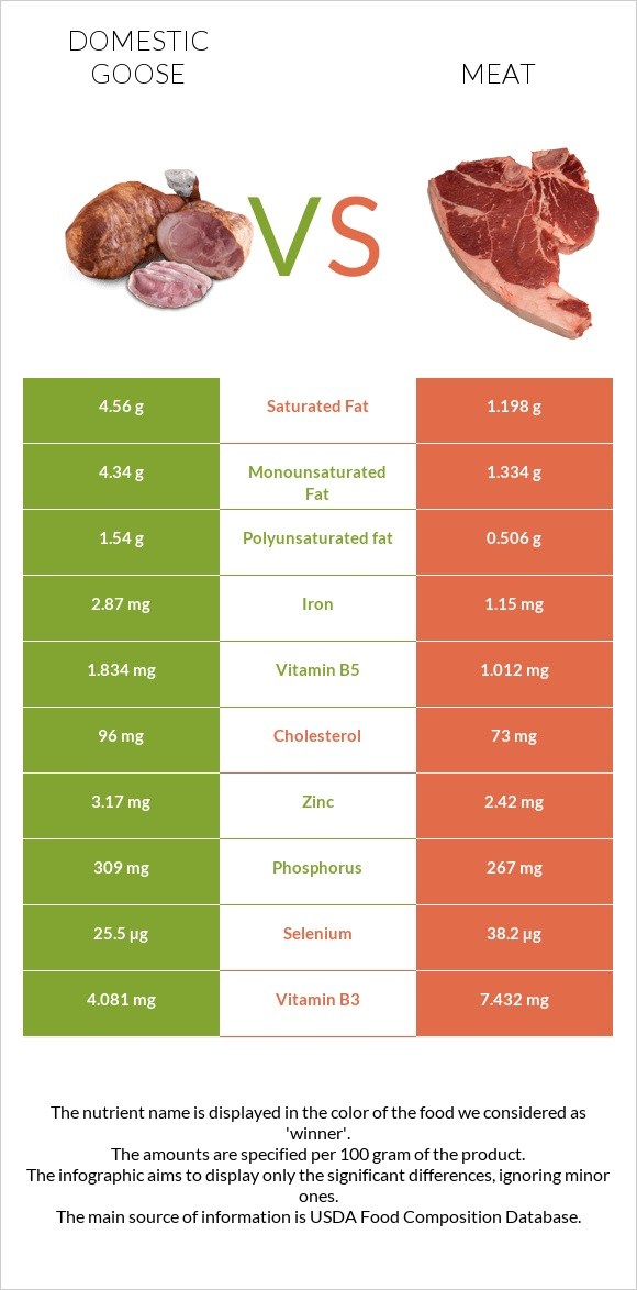 Domestic goose vs Meat infographic