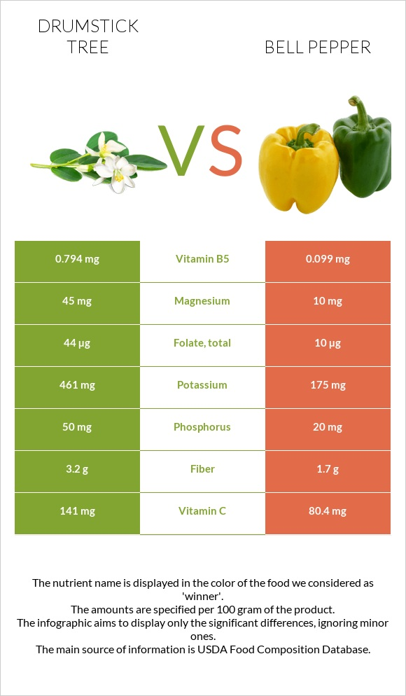 Drumstick tree vs Bell pepper infographic