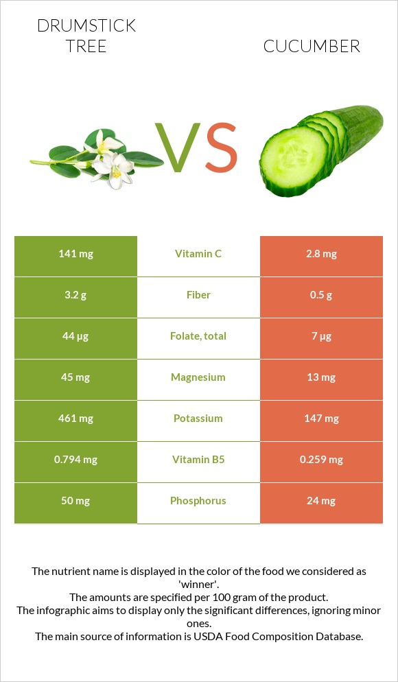 Drumstick tree vs Cucumber infographic