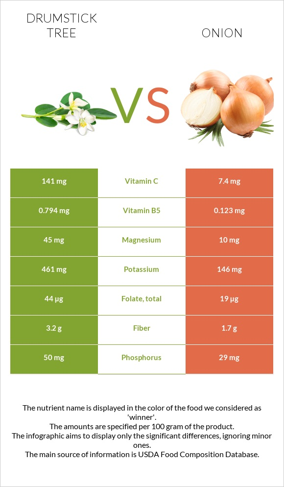 Drumstick tree vs Onion infographic