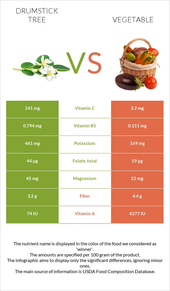 Drumstick tree vs Vegetable infographic