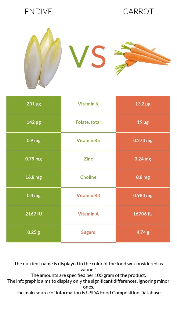 Endive vs Carrot infographic