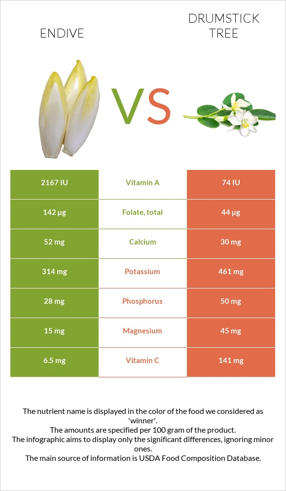 Endive vs Drumstick tree infographic