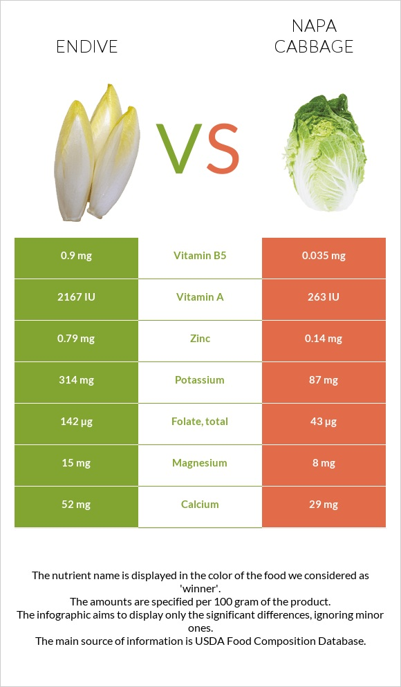 Endive vs Napa cabbage infographic