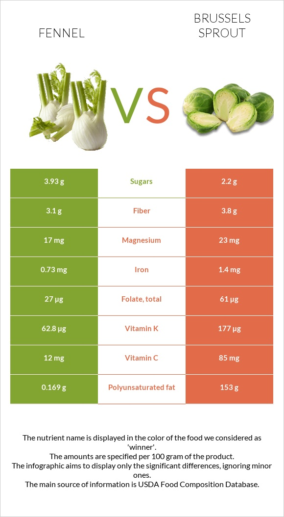 Fennel vs Brussels sprout infographic