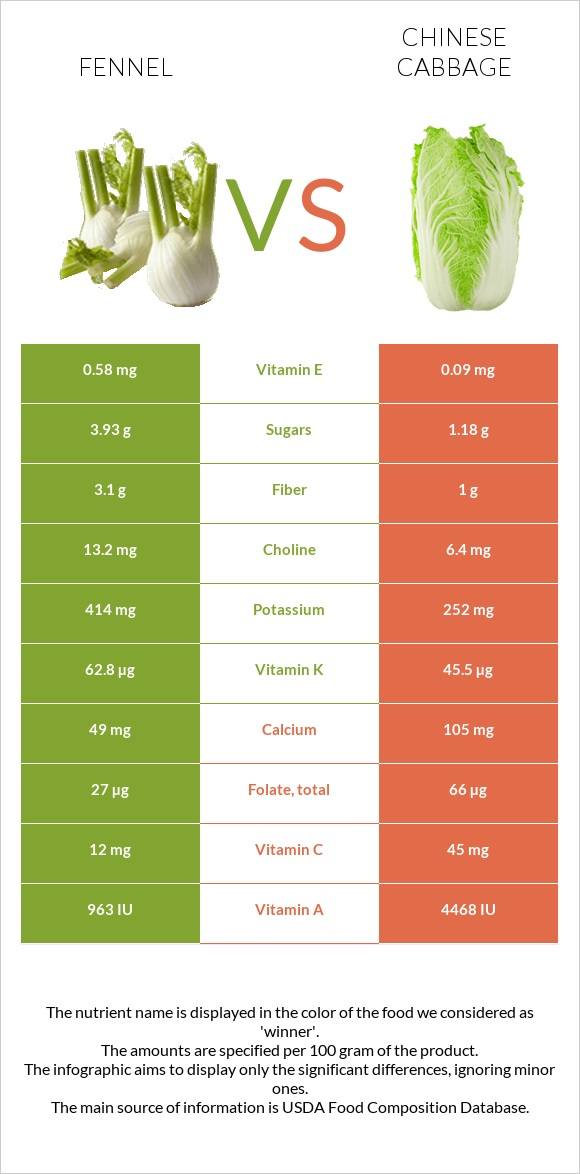 Fennel vs Chinese cabbage infographic