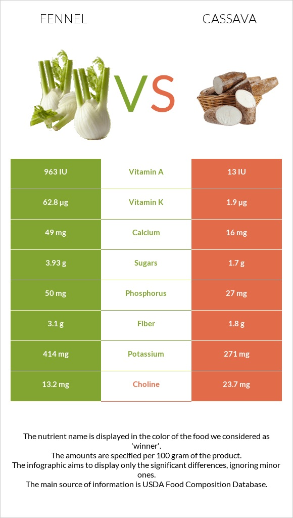 Fennel vs Cassava infographic