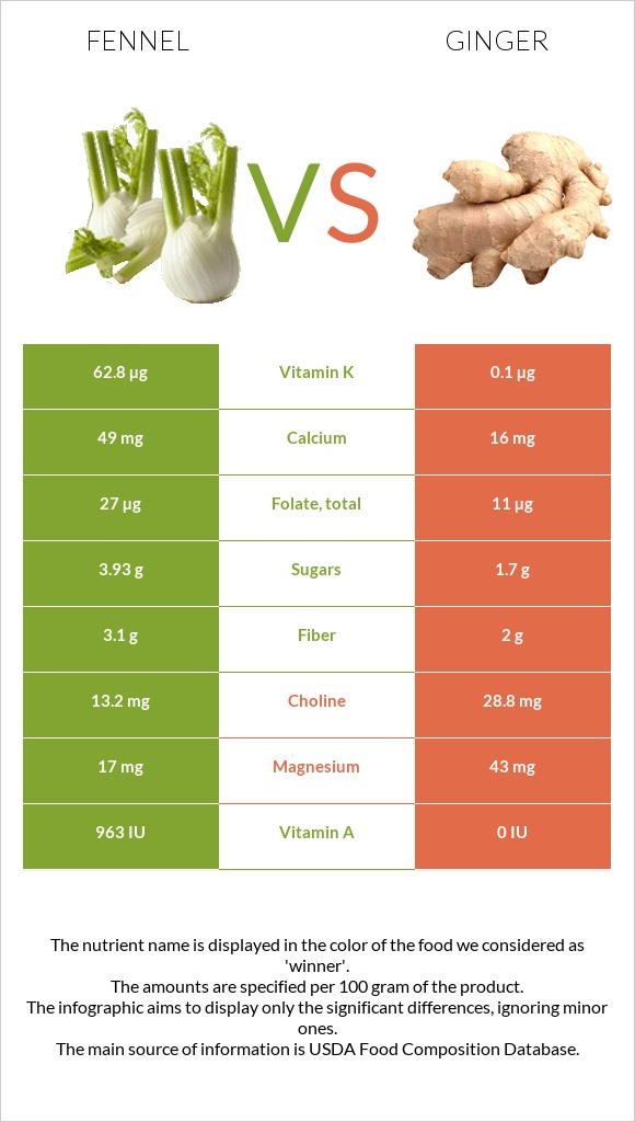 Fennel vs Ginger infographic