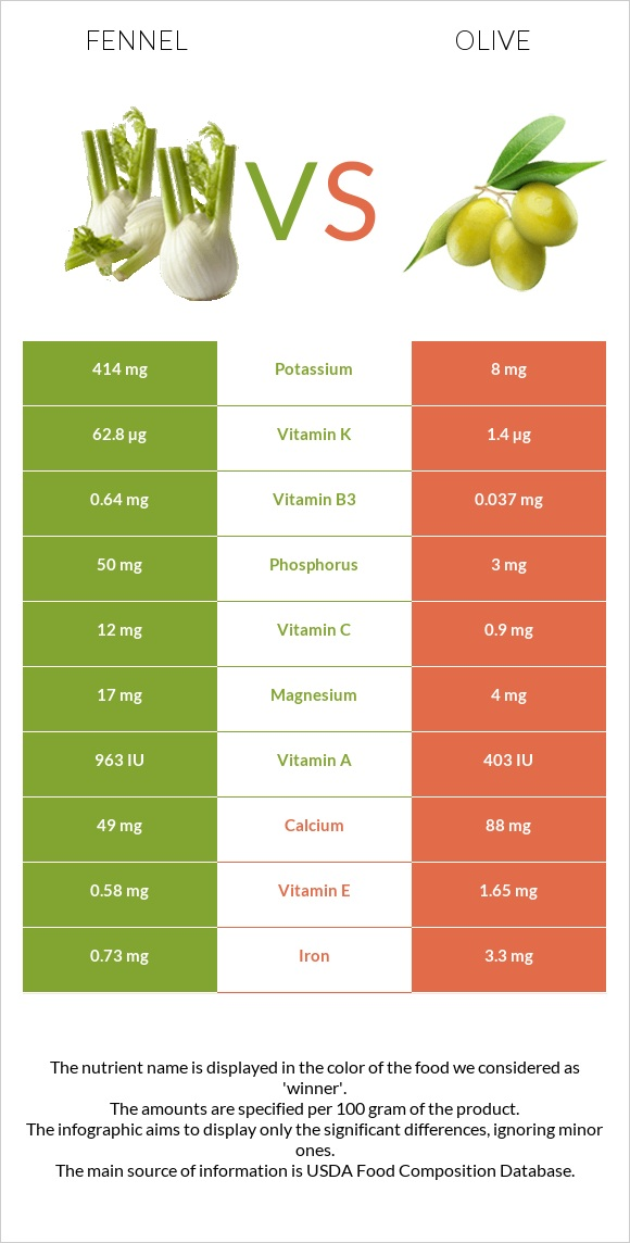 Fennel vs Olive infographic