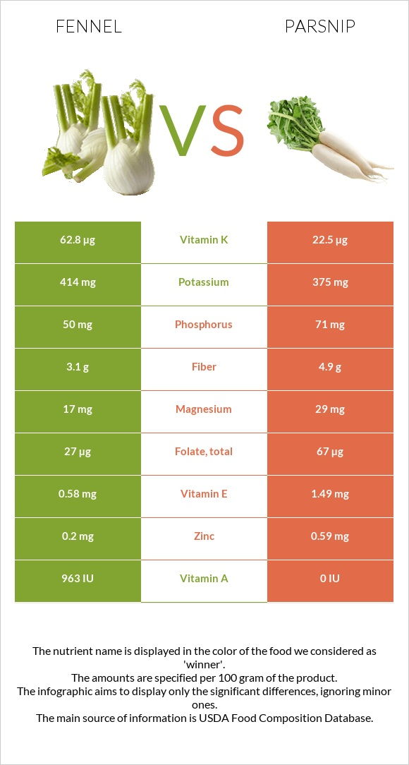 Fennel vs Parsnip infographic