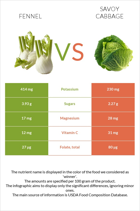 Fennel vs Savoy cabbage infographic