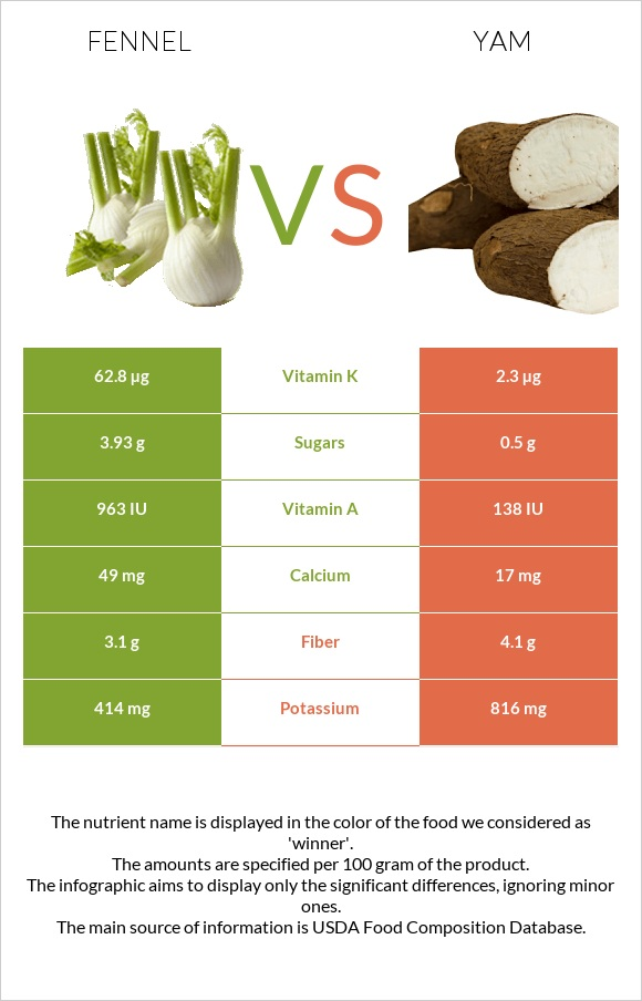 Fennel vs Yam infographic