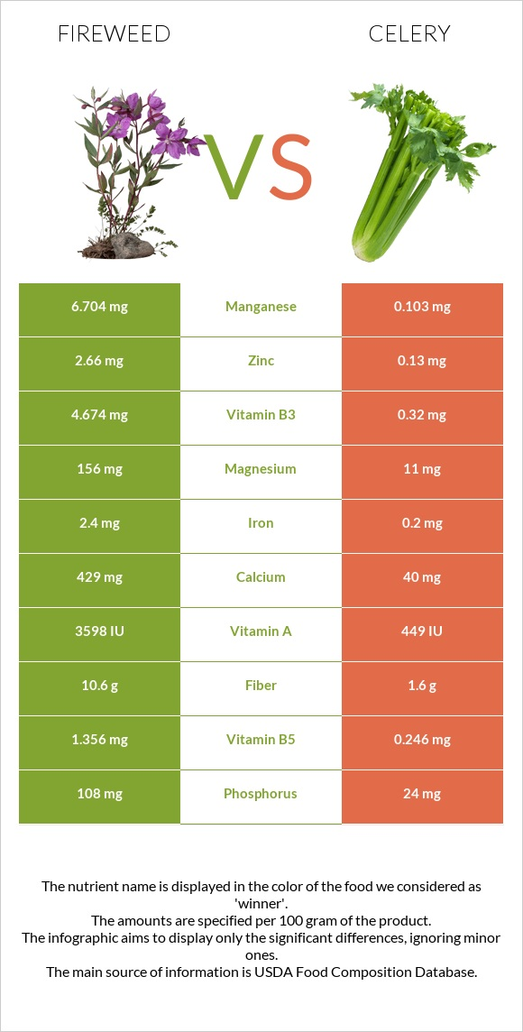 Fireweed vs Celery infographic