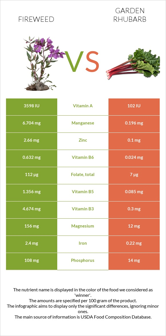 Fireweed vs Garden rhubarb infographic