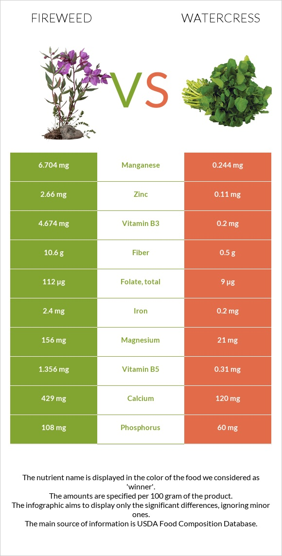 Fireweed vs Watercress infographic
