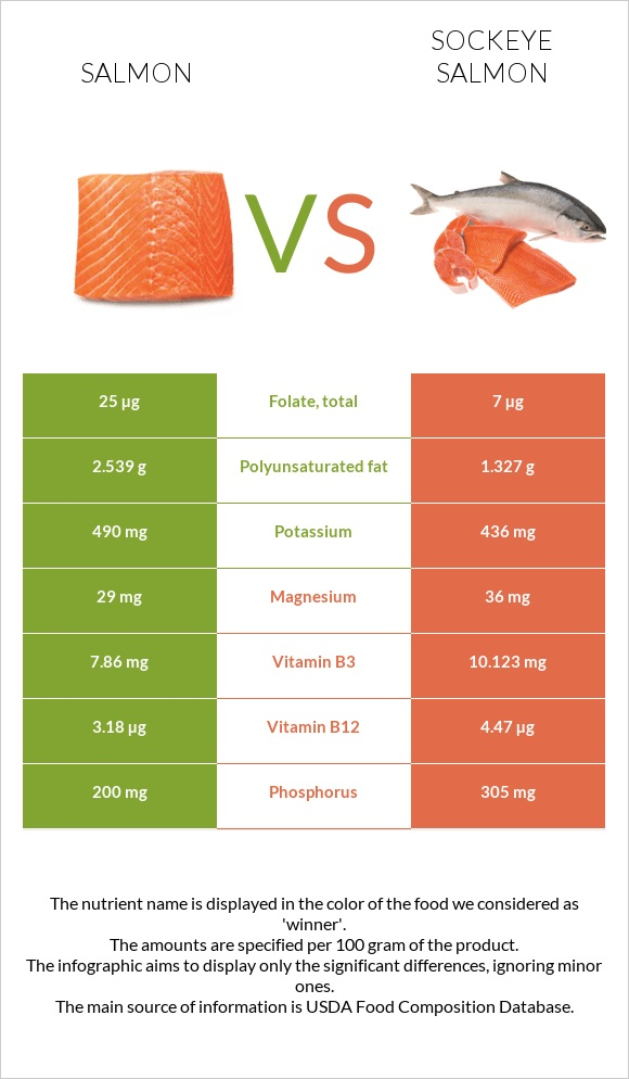 Salmon vs Sockeye salmon infographic