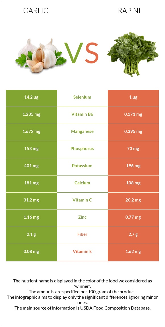 Garlic vs Rapini infographic