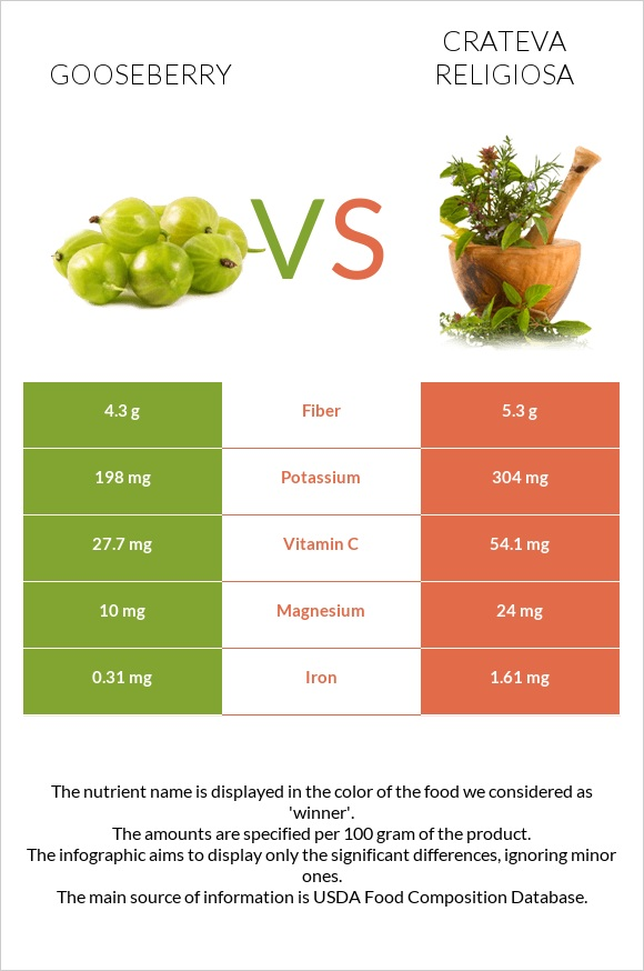 Gooseberry vs Crateva religiosa infographic