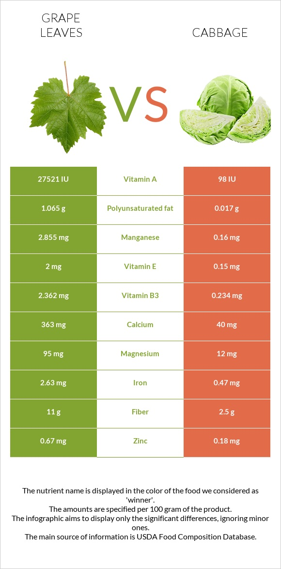 Grape leaves vs Cabbage infographic