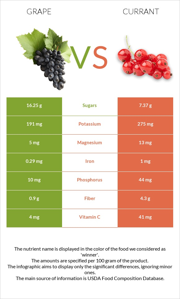Grape vs Currant infographic