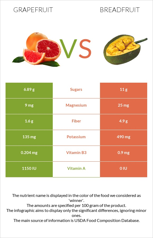 Grapefruit vs Breadfruit infographic