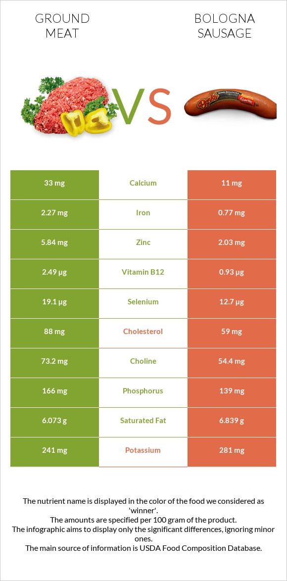 Ground meat vs Bologna sausage infographic
