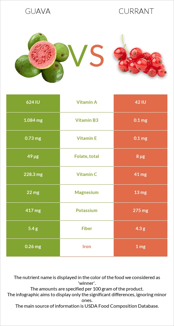 Guava vs Currant infographic