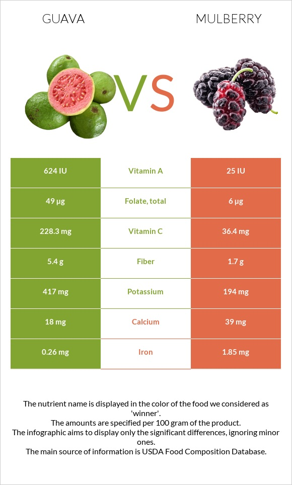 Guava vs Mulberry infographic