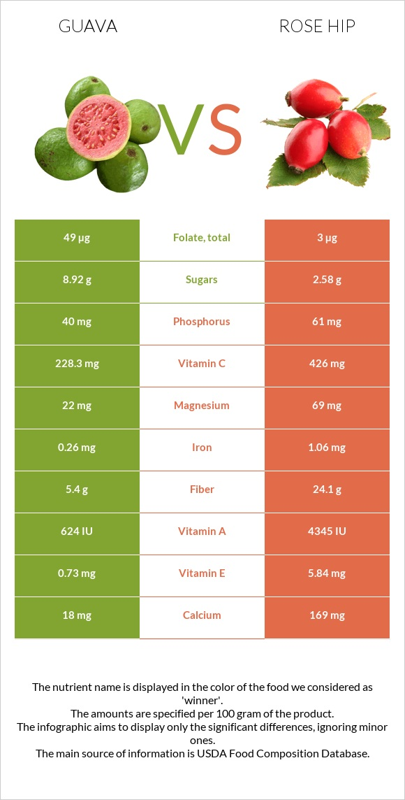Guava vs Rose hip infographic